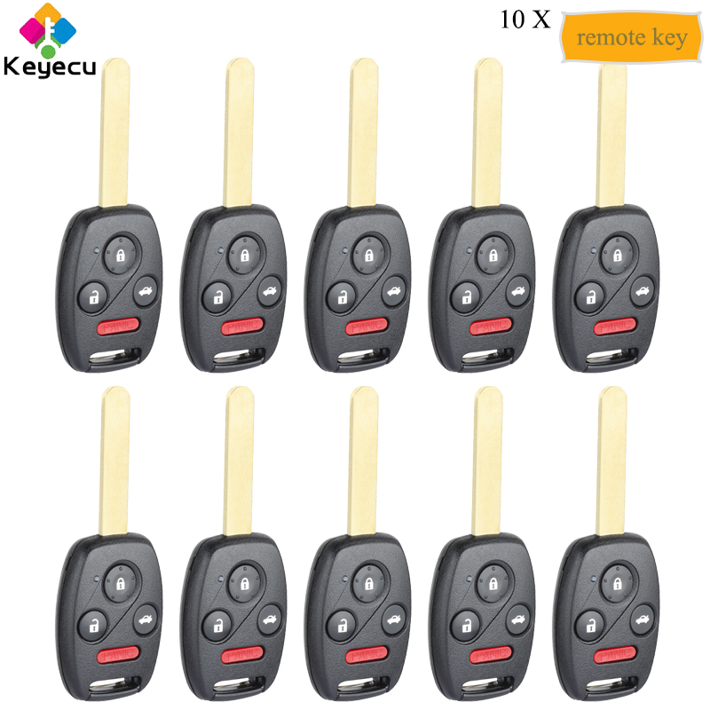 KEYECU 10PCS <font><b>Keyless</b></font> Entry <font><b>Remote</b></font> Control Key With 313.8MHz ID46 Chip - FOB For <font><b>Honda</b></font> Accord 2003-2007, 2010 Element OUCG8D-380H image