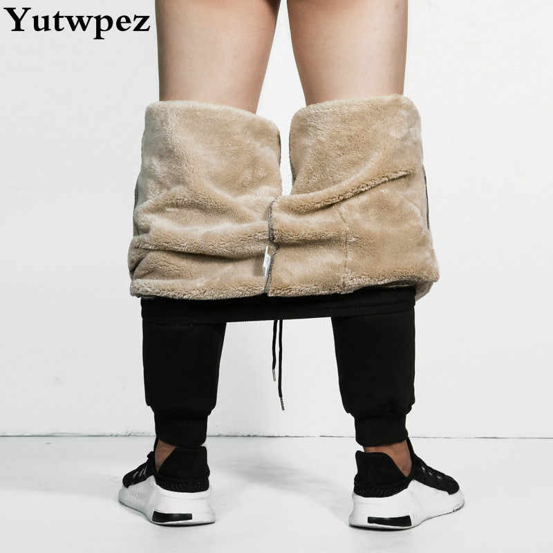 Mannen Cargo Super Winter Warme Broek Buiten Fleece Joggers Thicken Joggingbroek Zware Gewicht Rits Broek Windjack Mannen Losse
