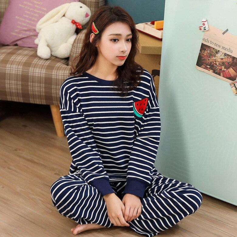 Pajamas Women Long Sleeve Set Deep Blue Stripes Fruit Set M-XXL 3-Color Home-feeding Original