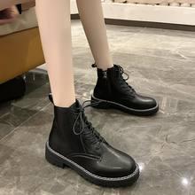 Модные черные женские ботинки из искусственной кожи мотоциклетные
