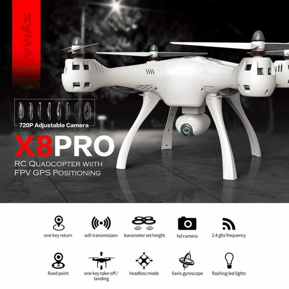 Syma X8PRO 2.4G GPS المواقع FPV RC الطائرة بدون طيار Quadcopter مع 720P HD Wifi كاميرا قابل للتعديل الوقت الحقيقي علو عقد مقطوعة الرأس مرحبا