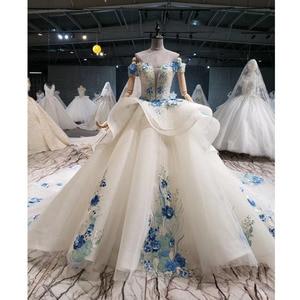 Image 1 - BGW HT41327 Cheap Wedding Dress Blue Flowers Off Shoulder Sweetheart Bead Wedding Gowns With Tail Vestidos De Noiva Plus Size