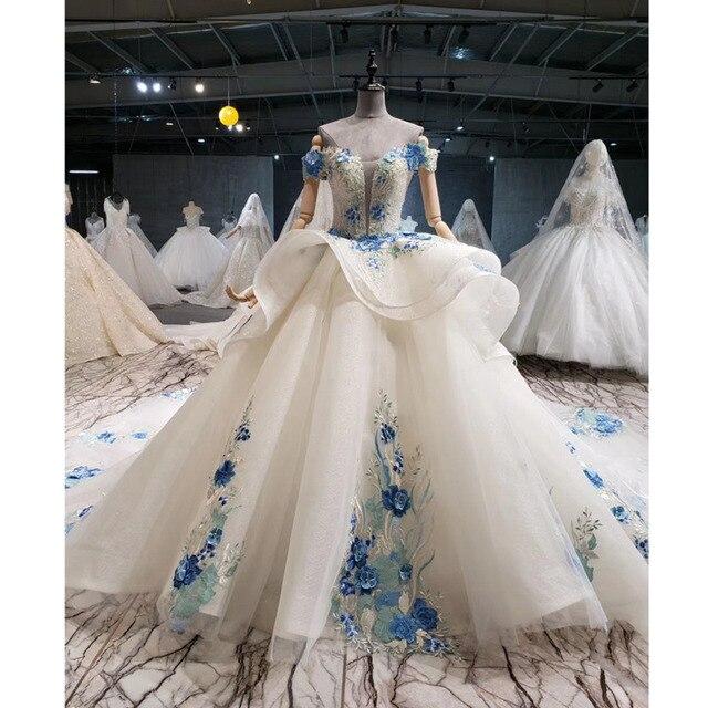 BGW HT41327 Cheap Wedding Dress Blue Flowers Off Shoulder Sweetheart Bead Wedding Gowns With Tail Vestidos De Noiva Plus Size