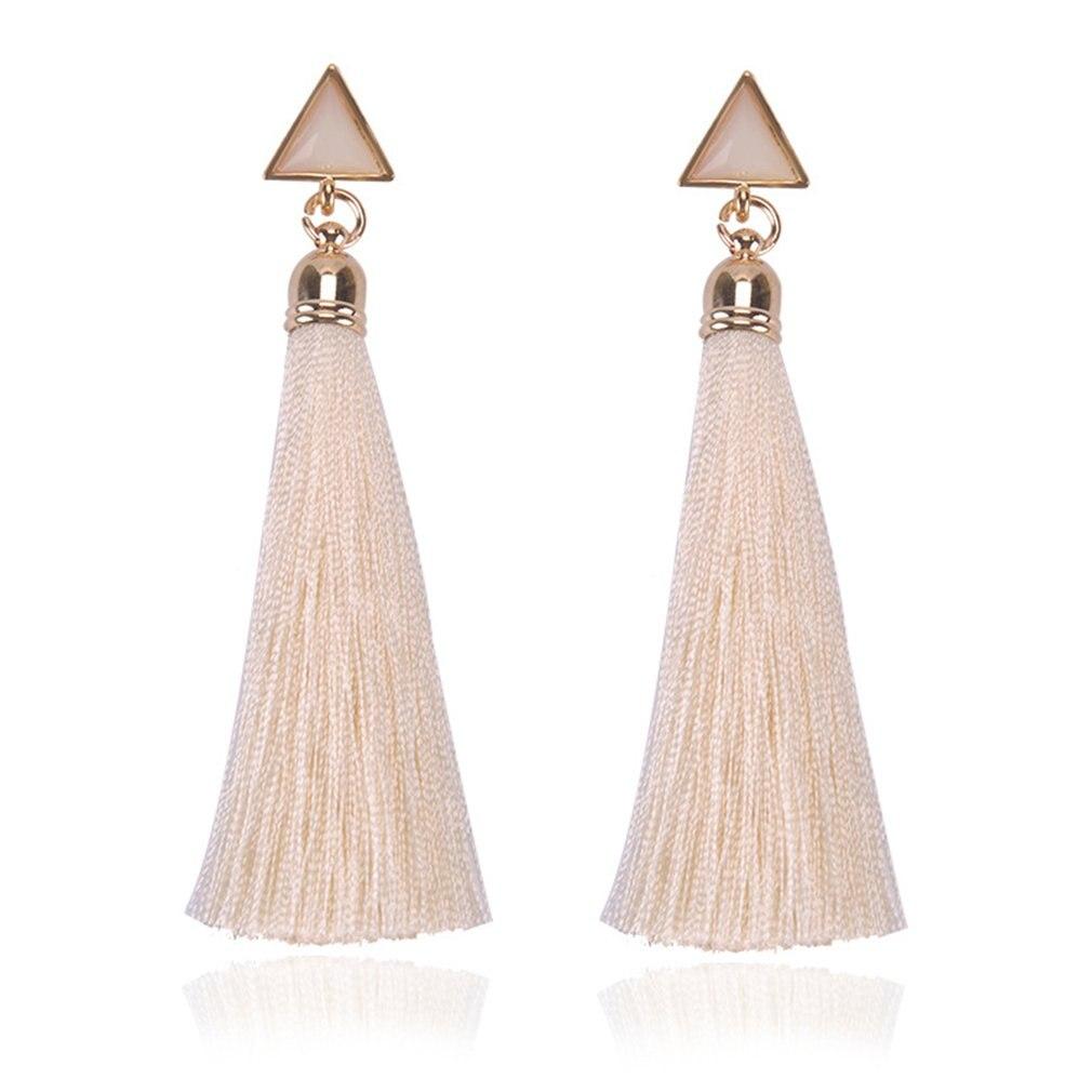 Bohemian Earrings Geometric Triangle Long Hanging Tassels Earrings Women Ladies Ethnic Hanging Rope Jewelry For Party Beach
