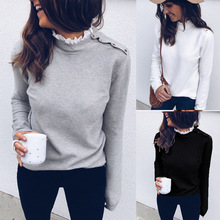 CHUQING 2019 New Fashion Autumn and Winter Womens Round Neck Lace Stitching Shoulder Button Long-sleeved Shirt
