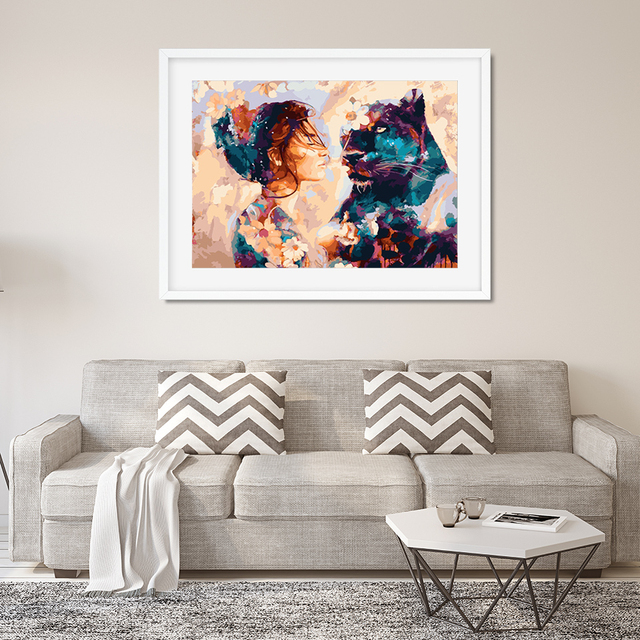 AZQSD DIY Framed Lion Girl Oil Painting By Numbers Adults Colorful Paint Wall Art Picture For Living Room Home Decor 6