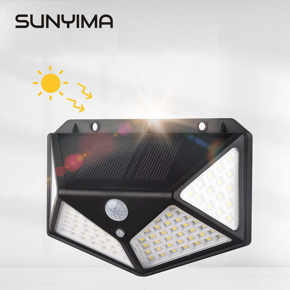 SUNYIMA 100 LED Solar Light Outdoor Solar Powered Wall Light Waterproof Emergency Energy Saving Yard Garden Street Garland Light