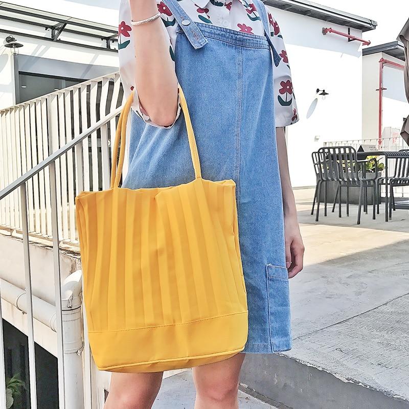 Large Capacity Thai Style Bucket Shooping Bag Eoc Friendly Reusable Pleats Tote Handbags Casual Pleated Shoulder Bags