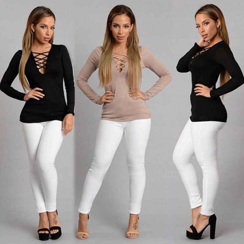 Tshirt women 2019 새로운 가을 섹시한 스트랩 슬림 긴 소매 v 넥 중공 t 셔츠 여성 vestidos dropshipping nxb1063