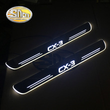 LED moving light scuff pedal for Mazda CX-3 CX3 2014-2019 Acrylic Led Door Sill Welcome Pedal Trim Cover Scuff Plates threshold цена и фото