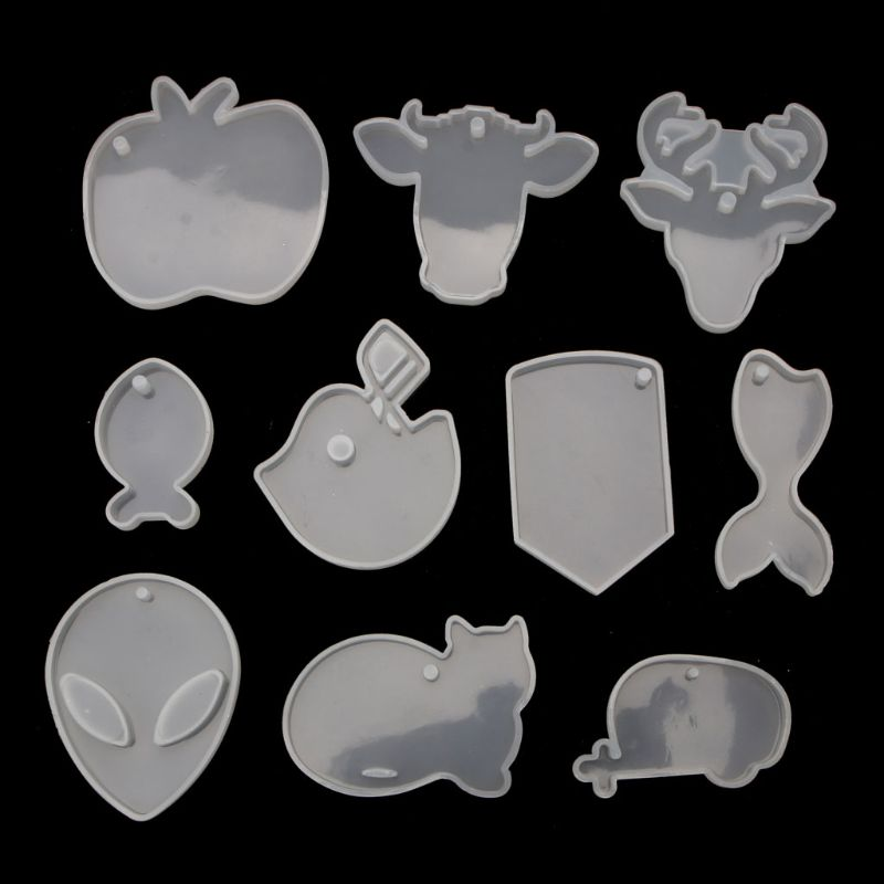 10Pcs Keychain Pendant Silicone Resin Mold Aliens Cat Epoxy Resin Jewelry Making