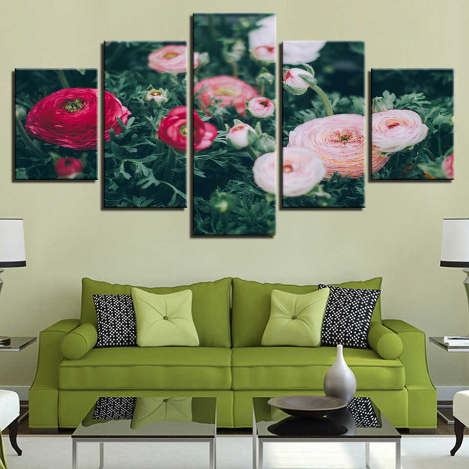 Flower Poster Rose Red Yellow White Purple Blue Pink Black Wall 5 Pictures Living Room Color Painting Art Anime Home Decor