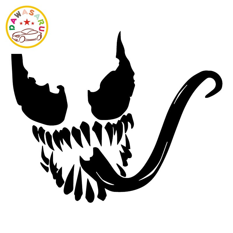 Venom Face Funny Car Sticker Trunk Bumper Decoration Decal Car Decoration Personality Pvc Car Decal Black/white,16cm*13cm image