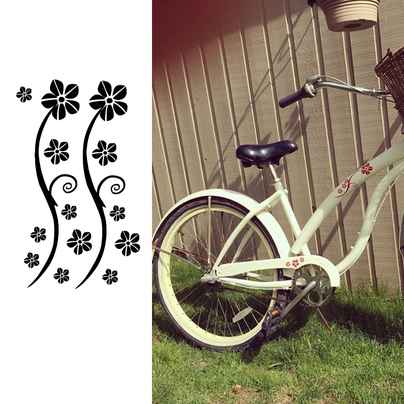 Funny Stickers Bicycle Bumper Decor , Flowers DIY Bike Vinyl Decals Decoration