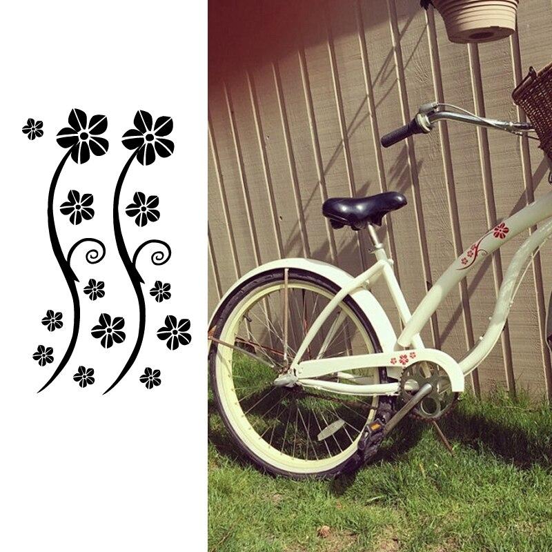 Funny Stickers Bicycle Bumper Decor , Flowers DIY Bike Vinyl Decals Decoration