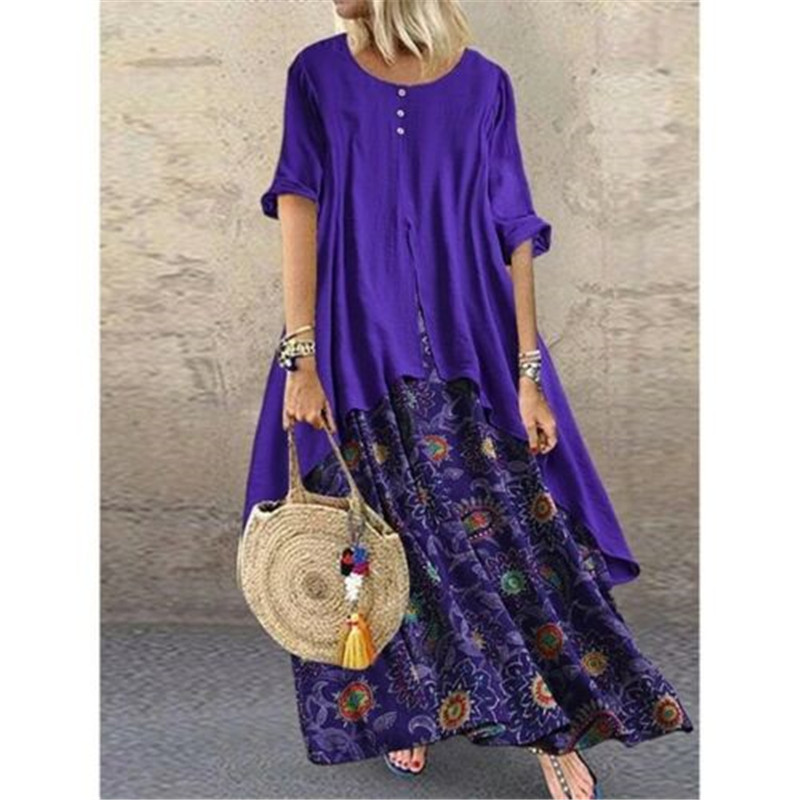 Woman Fashion Crew Neck Long Sleev Evening Party Gowns Long Maxi Dresses Beach