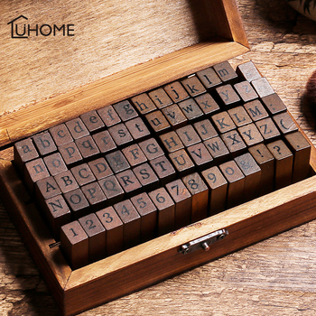 70pcs DIY Number Alphabet Combination Letter Stamp Diary Ablum Wedding Letter Wood Rubber Stamp Set with Vintage Wooden Box Gift