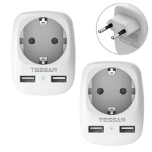 TESSAN כוח מתאם 2 חבילות עם 1 שקע 2 USB חיבורים (2.4A), 3 ב 1 שקע האיחוד האירופי אוניברסלי נסיעות מתאם
