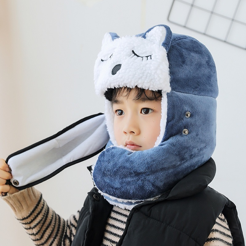 2019 Europe And The United States Winter New Cartoon Children's Hat Lei Feng Hat Riding Windproof Warm Children Cold Cotton Cap