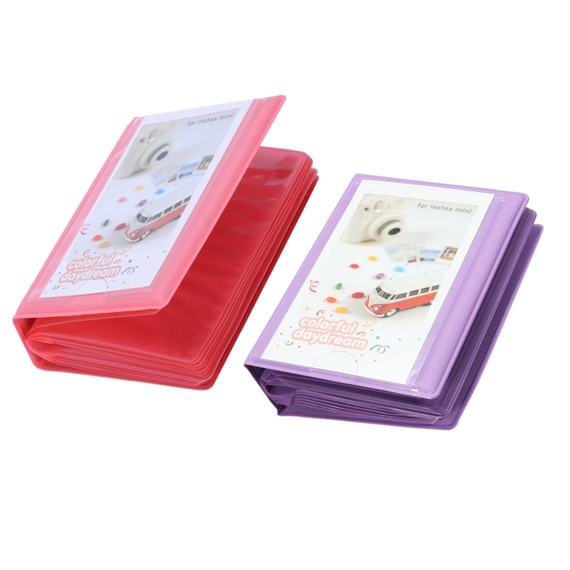 2 Pcs 3 Inch Mini 28+1 Pockets Photo Album Storage Case For Polaroid FujiFilm Instax Film - Purple & Pink
