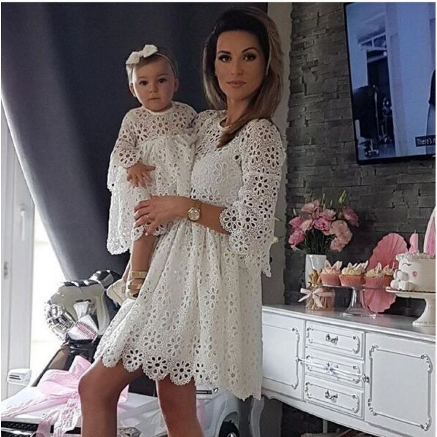 YUXIC White Color Mother Daughter Match Dress Floral Lace Baby Girl Mini Dress Mom And Me Wedding Party Dress
