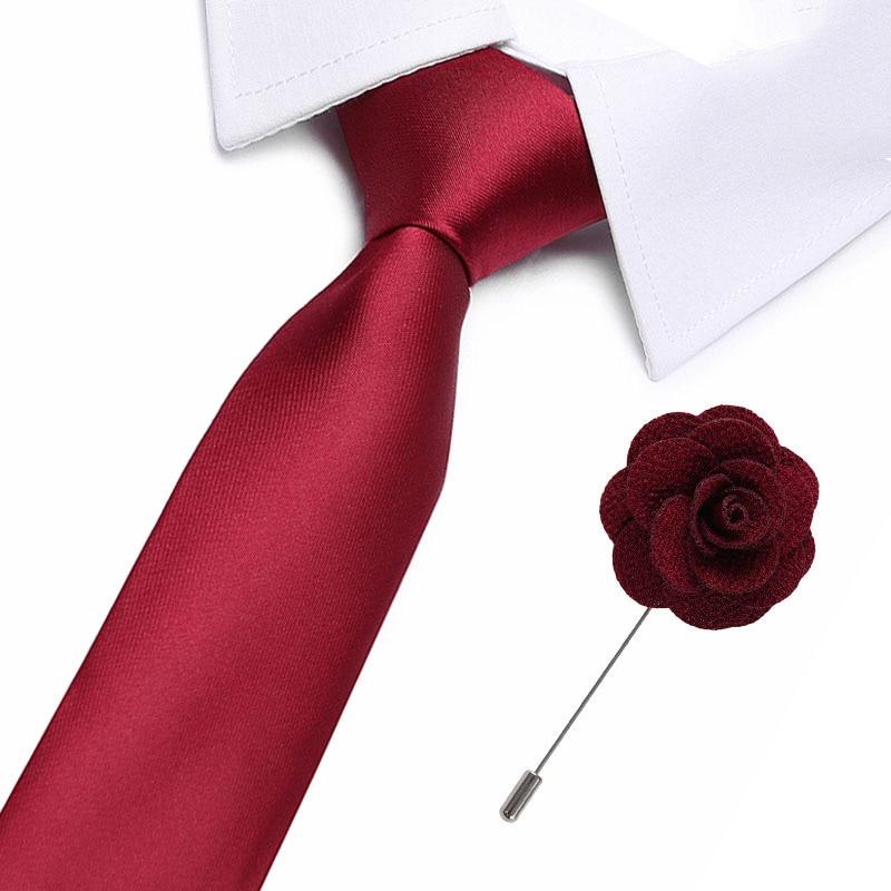 New 100% Silk Men's Ties Red Soild  Neck Ties 7.5cm Ties With Flower Pin For Men Formal Business Wedding Party Neckties