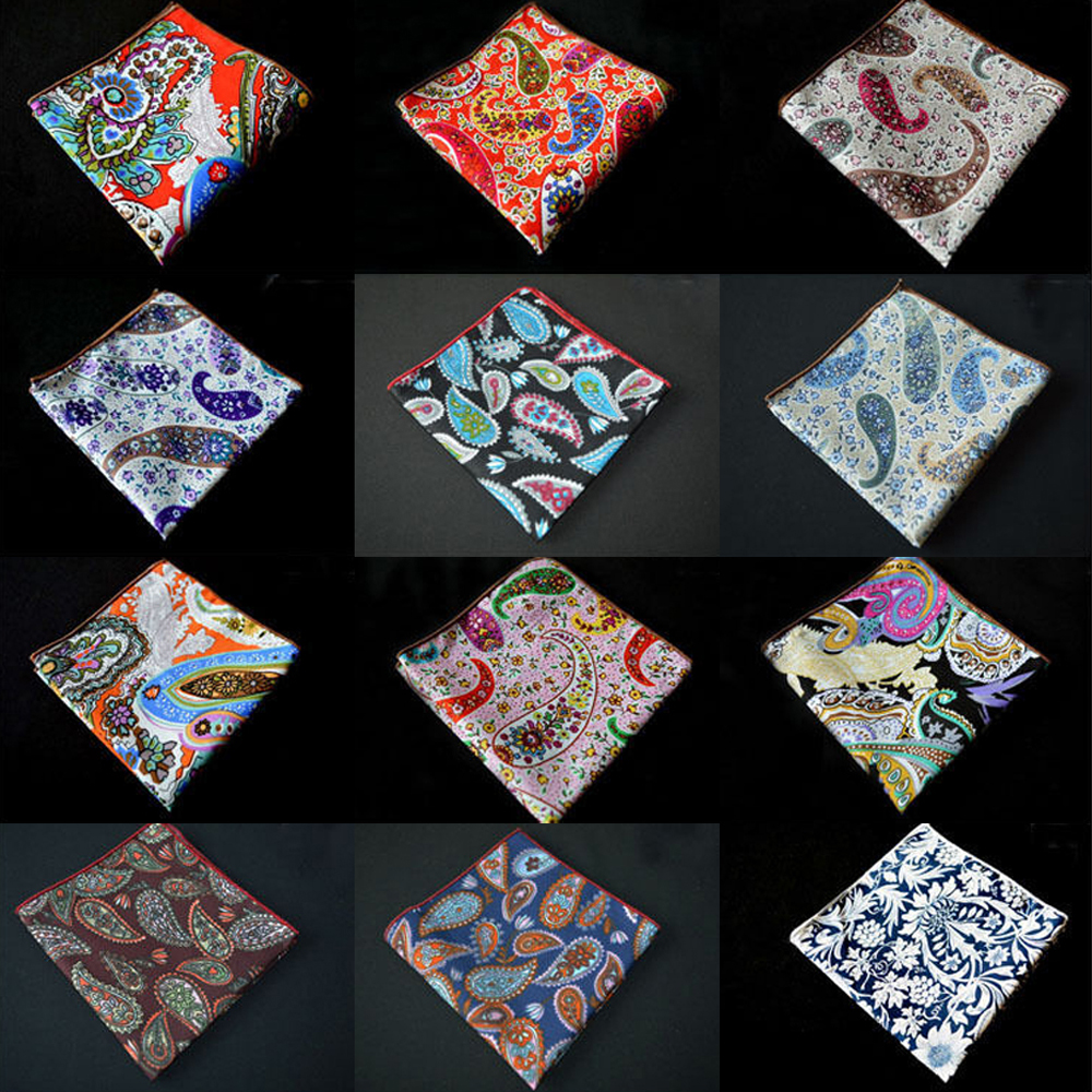 Men Fashion Flower Paisley Cotton Hanky Prom Handkerchief Floral Pocket Square