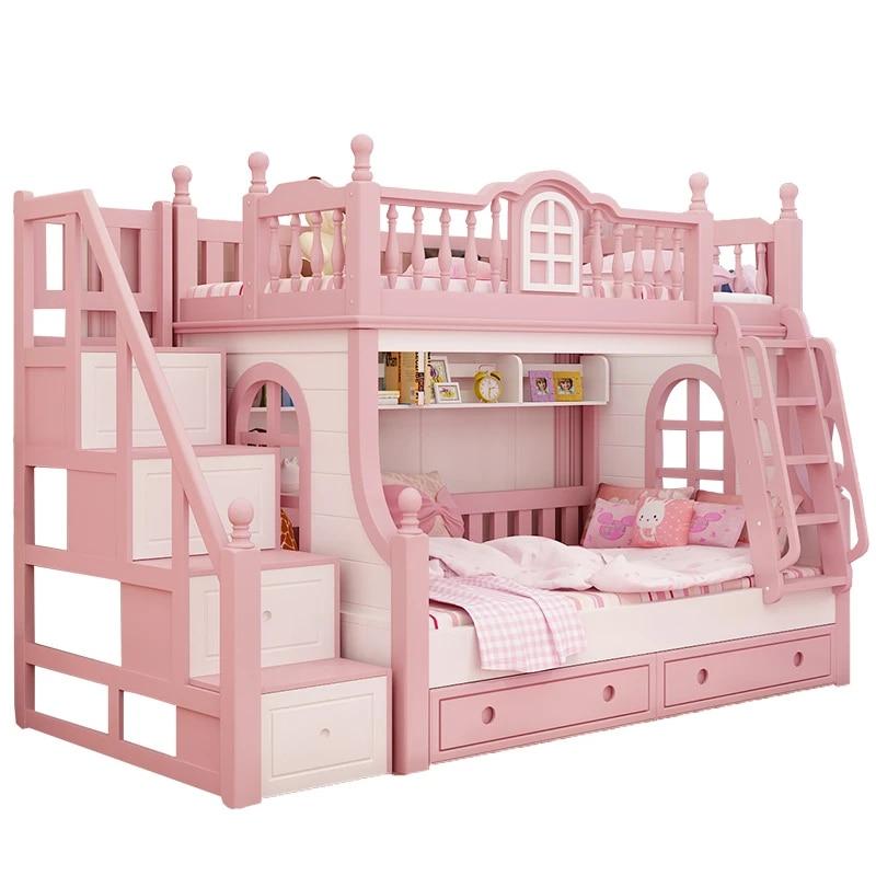 Children S Bedroom Furniture Bunk Bed Girl Princess Pink Bed With Slide Solid Wood Space Saving Furniture Bed Children Beds Aliexpress