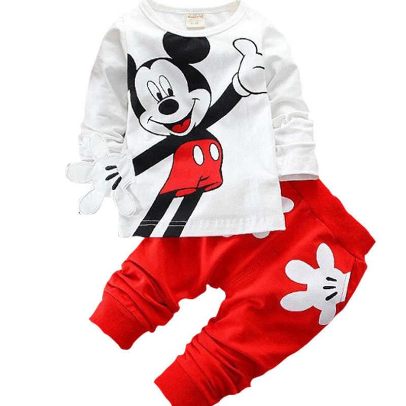 Automne hiver garçon fille dessin animé Mickey Mickey Mouse loisirs vêtements nouveau-né bébé enfants costumes infantile vêtements enfants costume