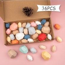 Ahşap taşlar Montessori oyuncak yaratıcı İskandinav tarzı İstifleme gökkuşağı oyun Jenga seti dengeleme yapı taşları ahşap oyuncak hediye