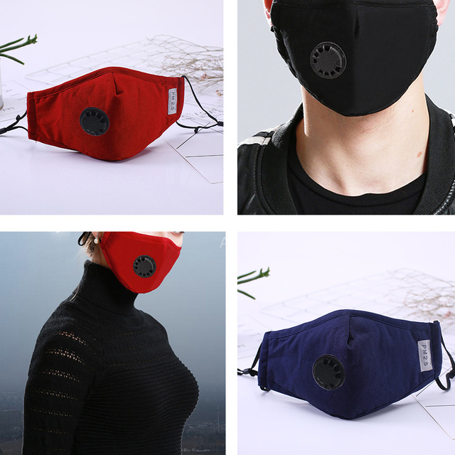 Bacteria proof Flu Face masks Care Cotton PM2.5 Black mouth Mask anti dust mask Activated carbon filter Windproof Mouth-muffle 1