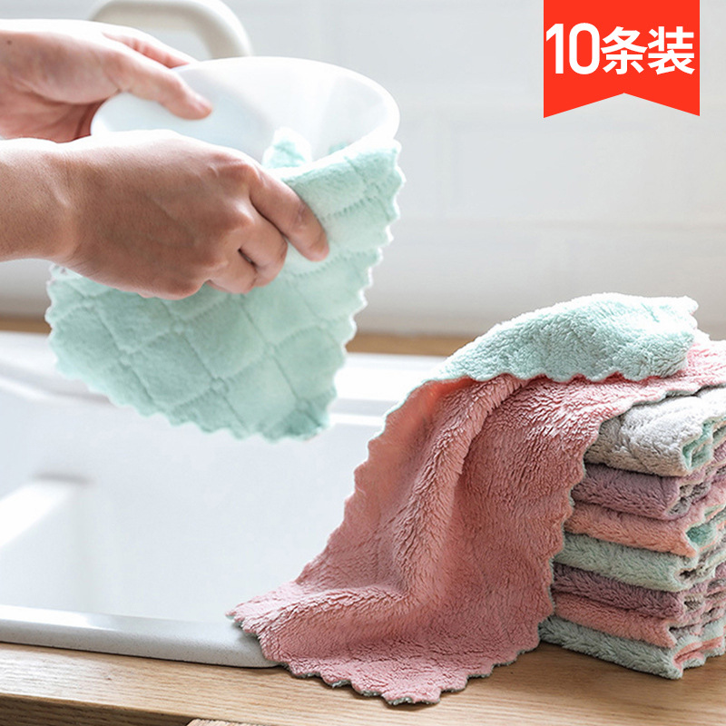 10 Packaged in the Shape of Bars Cleaningcloth Kitchen Supplies Not Shed Household Oil free Water Absorbent Towel Bamboo Fabric|Cleaning Cloths| |  - title=