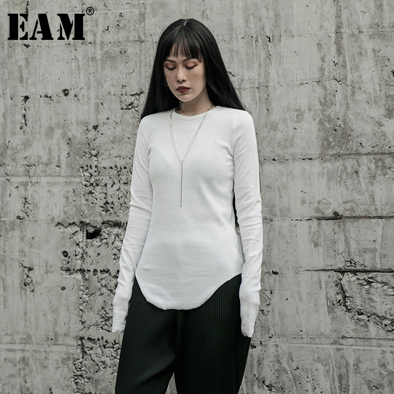 [EAM] Women White Brief Round Hem High Elastic T-shirt New Round Neck Long Sleeve  Fashion Tide  Spring Autumn 2020 1R599