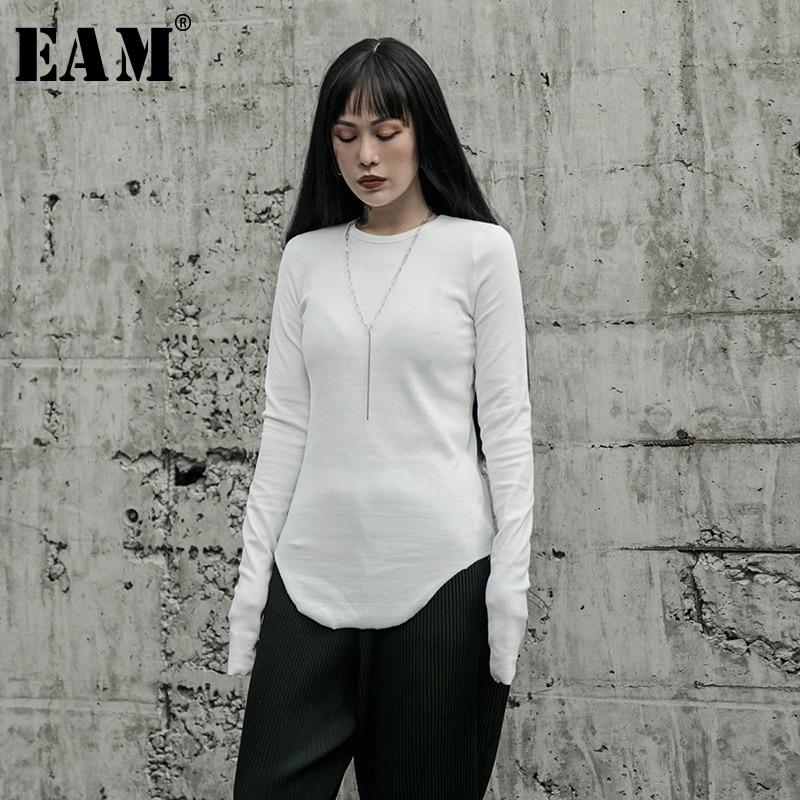 [EAM] Women White Brief Round Hem High Elastic T-shirt New Round Neck Long Sleeve  Fashion Tide  Spring Autumn 2020 1R599
