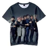 Camiseta Harajuku Coreana de diseño de marca para mujer, ropa de calle Kpop camiseta de hombre efecto 3D/mujer, k-pop Camiseta con estampado de alta calidad, Tops de manga corta para chico