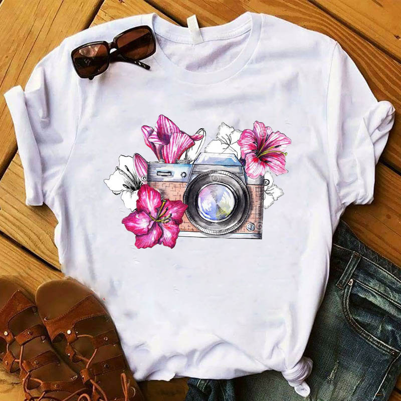 Women T Womens Graphic Camera Flower Vintage Fashion Summer Cute Printed Top Tshirt Female Tee Shirt Ladies Clothes T-shirt