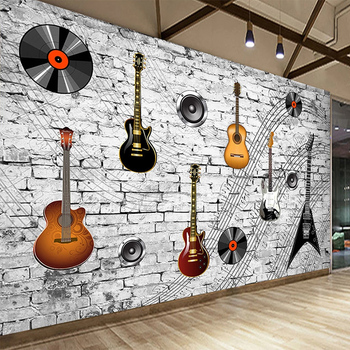 Custom Mural Wallpaper 3D Nostalgic Brick Wall Personality Guitar Music Element Symbol Bar Tooling Background Wall Papers Fresco