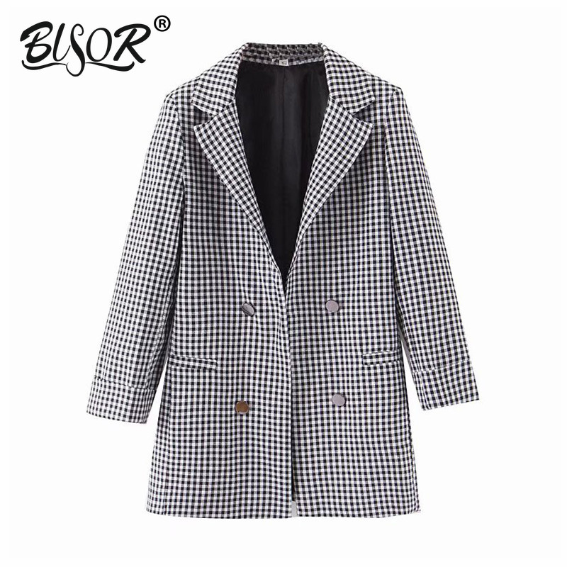 Black And White Plaid Blazer For Female Three Quarter Sleeve Notched Collar Suit Blazer Elegant Ladies Work Tops Blazer Feminino