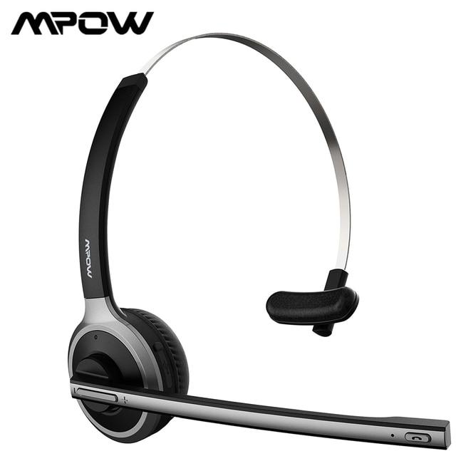 Mpow m5 atualizado bluetooth 5.0 fone de ouvido sem fio com 18h falando tempo & cancelamento ruído microfone para call center pc telefone