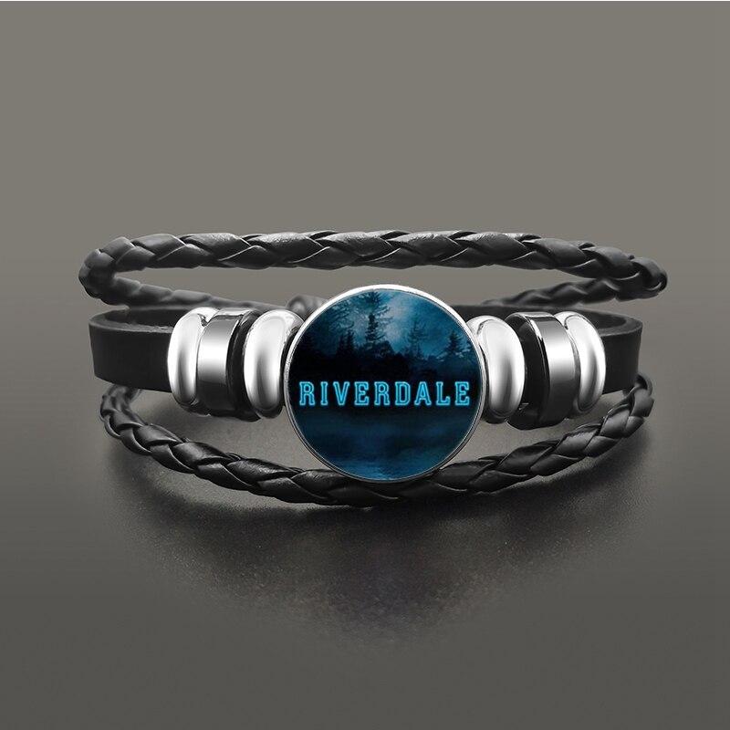TV-Riverdale-South-Side-Serpents-Black-Leather-Bracelet-Jeweley-Glass-Dome-Button-Snaps-Bracelets-Punk-Wristband