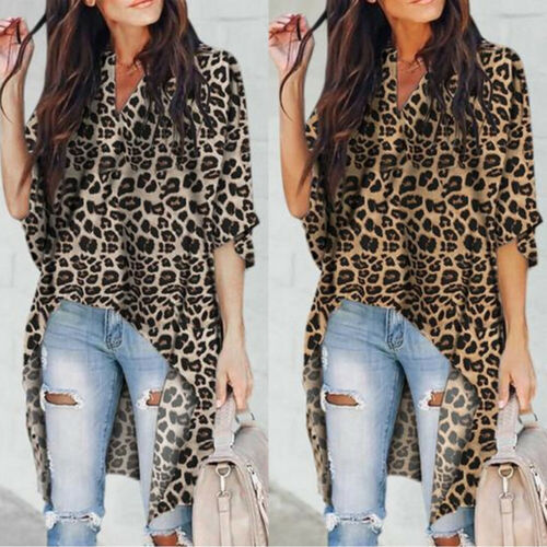 2019 New Style Women's Casual V-Neck   Blouse   Half Flare Sleeve Long   Shirt   Ladies Irregular Leopard Print Tops and   Blouse   Summer