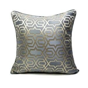 Современная роскошная Геометрическая жаккардовая тканая серая синяя оранжевая наволочка 45x45 см, наволочка, домашний декор, кресло, диван, н...