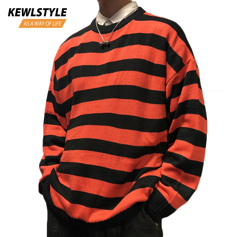 Black Red Striped Knit Sweaters Autumn Winter Crewneck Fashion Long Paragraph Oversized Jumpers Men Women Pullover Clothing MY12