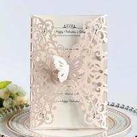 100pcs/set European Style Wedding Invitation Card Thanksgiving Festival Greeting Card Hollow Light Pink Postcard Butterfly Decor