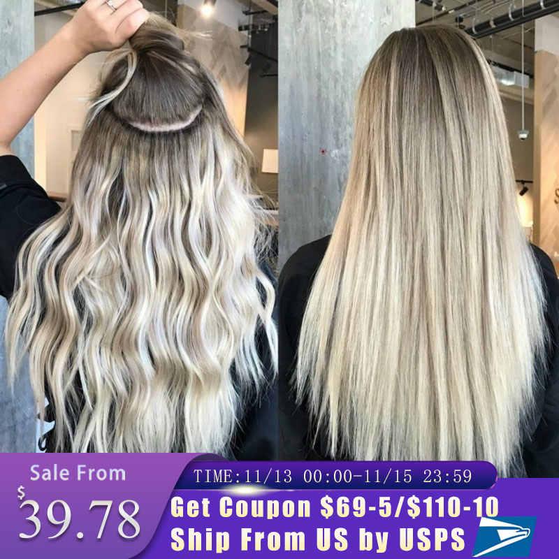 קליפ שיער טבעי הרחבות מלא ראש רמי שיער טבעי שחור כדי אור חום דבש בלונד Ombre ישר שיער הרחבות 120g