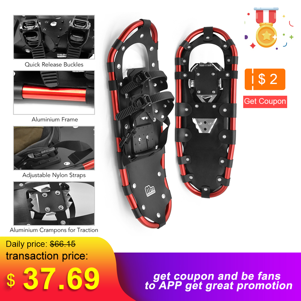 25 /27 /29 Inch Outdoor Snowshoes Aluminum Adjustable Bindings Ski Carrying Tote Bag Practical Durable For Women Men
