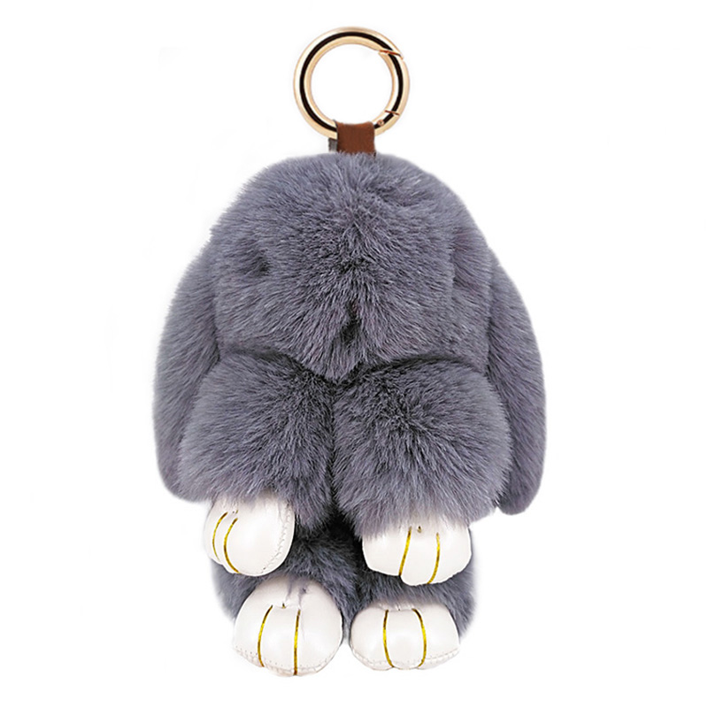 Cute Rabbit Puffy Key Chains Handmade Bags Pendant Fashion Jewelry Ornament Car Keychain New Year Gifts Kids Toys 6