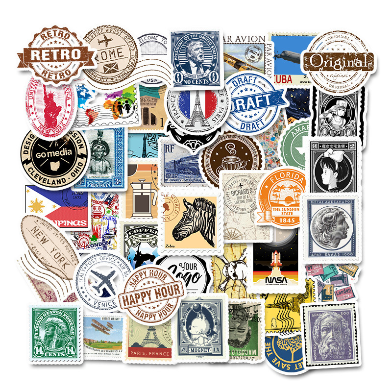 50pcs Retro Various Countries Stamps Vinyl Stickers DIY To Laptop Skin Luggage Refrigerator Decal For MacBook/Asus/Xiaomi/HP