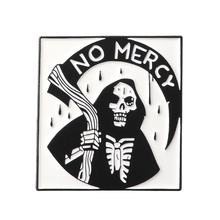 NO MERCY Grim Reaper Enamel Pins Badges Death Skeleton Scythe Brooches Lapel pin Denim Shirt Collar Punk Gothic Jewelry Custom