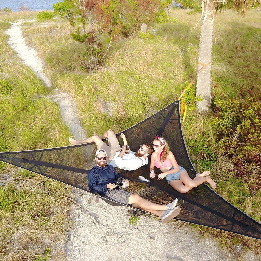 MULTI-PERSON HAMMOCK- PATENTED 3 POINT DESIGN Portable Hammock Triangle Aerial Mat Convenient Camping Sleep Dropshipping 1
